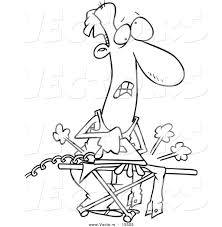 vector of a cartoon clueless man ironing laundry coloring page