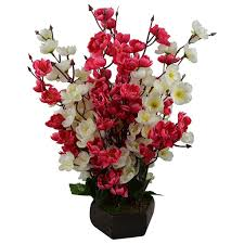 buy a2z street pink orchids artificial flowers with wooden vase