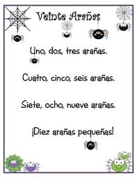 spanish numbers veinte arañas spanish numbers number