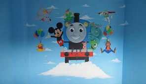 thomas the train mural wall murals you ll love thomas the tank engine wallpaper wallpapersafari cute thomas train wall decor stickers