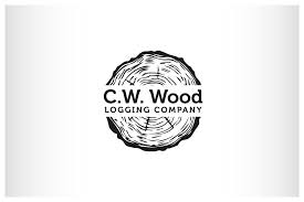 masculine bold logo design for c w wood logging company by