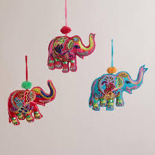 embroidered fabric indian elephant ornaments set of 3 world market
