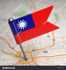 China On A Map by Small Flag Taiwan Republic China On Stock Illustration 189755528