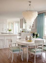 lighting beautiful kitchen design with capiz chandelier and beautiful kitchen design with capiz chandelier and dining sets plus flower arrangement dining table also blue curtain