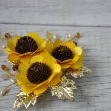 sunflower corsage yellow wooden sunflowers corsage brooch pin accentsandpetals on
