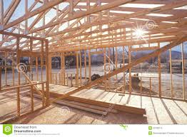 wood frame of house under construction stock images image 23180214