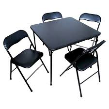 average card table size 5 piece folding chair and table set black plastic dev group target