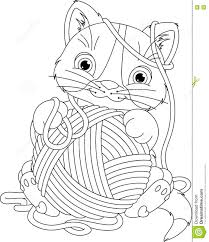 kitten with yarn ball coloring page stock vector image 73667098