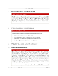 closure report template project closure report free