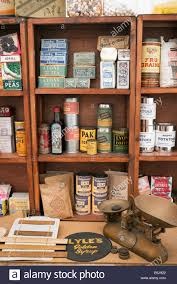 1940s house 1940s replica grocers shop with packets of food and household