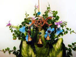 altar decor chime wiccan pagan pentacle triple moon goddess