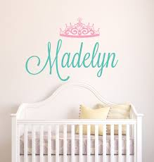 Wall Name Decals For Nursery by Personalized Name Wall Decal Crown Name Decal Baby Girl