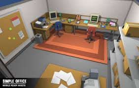 3d model simple office interiors cartoon assets vr ar low
