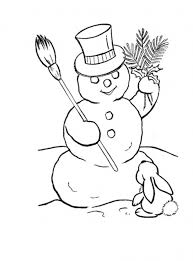 rabbit and snowman coloring pages to print winter coloring pages