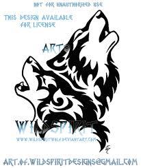 howling wolf pair tribal design by wildspiritwolf tribal