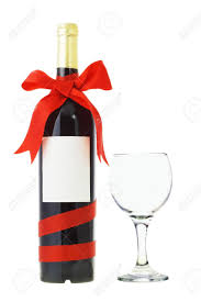 wine bottle bow bottle of wine decorated with bow ribbon and glass on white