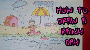 drawing tutorial drawing of rainy day rainy season easy
