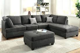 Microfiber Reversible Chaise Sectional Sofa Black Microfiber Small Sectional Sofa With Reversible Chaise