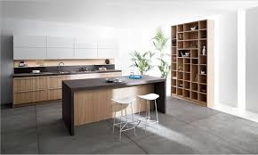 wooden kitchen appliances gray comfy sofa on open plan interior