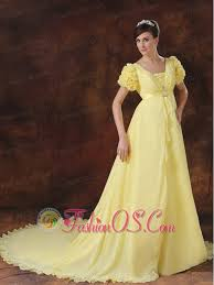 yellow square short sleeves flowers decorate prom dress 156 48