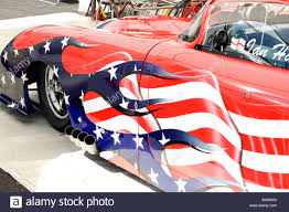 Custom Car Flag Customised American Corvette Spray Painted In The Colours Of The