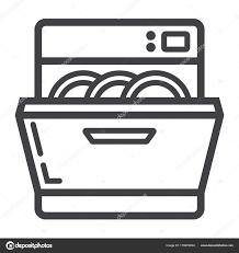 vaisselle cuisine appareil ménager cuisine et icône de ligne de lave vaisselle