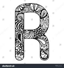 zentangle stylized alphabet lace letter r stock vector 323055284
