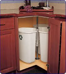 trash recycling cans in corner cabinet spin like lazy susan