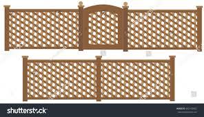 wooden trellis lattice fence gate vector stock vector 352105562