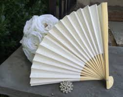 ceremony fans white fan etsy