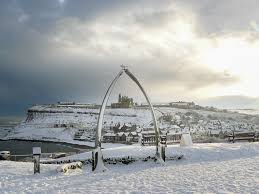 snow at whitby whale bones whitby cards a5