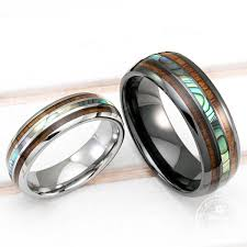 black wedding ring sets black ceramic tungsten wedding ring set with abalone pau a shell
