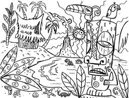 mythical hawaiian tiki mask coloring fun coloring pages