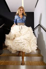 country ball gown wedding dress with denim jacket sang maestro