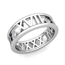 numeral ring de numeral wedding band platinum 3 diamond ring