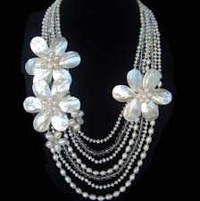 freshwater pearl necklace set images Freshwater pearl shell flower crystal necklace earring set jpg