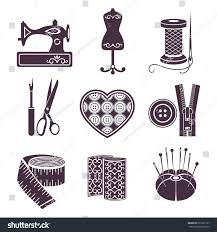 set vector icons sewing tools purple stock vector 591867137