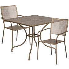 Steel Patio Table 35 5 Square Gold Indoor Outdoor Steel Patio Table Set With 2