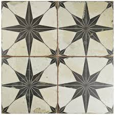 Floor And More Decor Merola Tile Kings Star Nero 17 5 8 In X 17 5 8 In Ceramic Floor