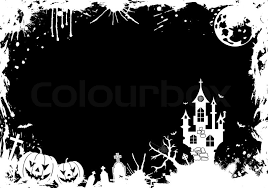 grunge halloween frame with pumpkin bat castle element for
