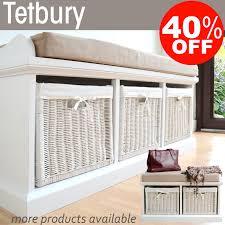 Bench With Storage Baskets by Tetbury White Bench With Storage Baskets Hallway Hanging Shelf