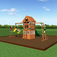castle peak wooden swing set playsets backyard discovery