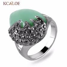 vintage bands rings images Kcaloe waterdrop green stone ring natural wedding band vintage jpg