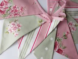 fabric bunting pink sage green flag bunting cottage chic
