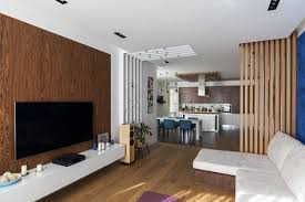 wooden interior design minimalist apartment with plenty of niches and wood décor home