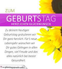 zum geburtstag gratulieren sprüche schlichte geburtstagskarte mit sonnenblumen und glückwünschen