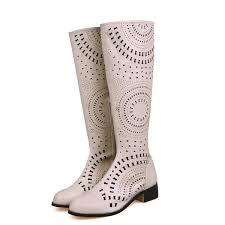 big w s boots beige knee boots laser cut toe summer boots for big day