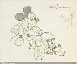 drawing of mickey mouse and pluto sold by bonhams los angeles on