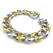 bracelet charm gold silver images Silver gold stainless steel bracelet men jewelry fashion jpg
