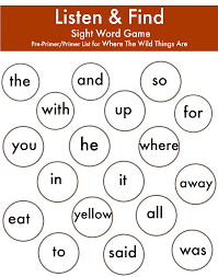 where the wild things are preprimer and primer sight words game